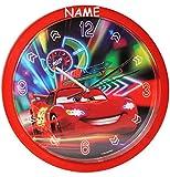 Wanduhr -  Disney Cars - Lightning McQueen - Nitro  - incl. Name - 25 cm groß - sehr leise ! - Uhr - Analog - Wohnzimmer & Kinderzimmer - für Jungen - Junge..
