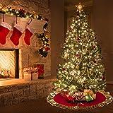 Aytai rosso albero di Natale gonna 90 cm, unico Golden Ruffle Edge, per decorazioni di Natale vacanza decorazione