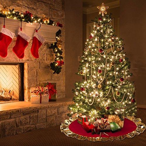 Falda de árbol de navidad, base decorativa para árbol de navidad roja, con volantes dorados de Aytai 91 cm. (no tejida)