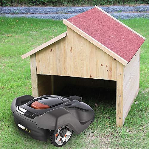 Melko Mährobotergarage Carport Überdachung aus Holz für Mähroboter, Dach in Rot, 85 x 85 x 82,5 cm - bietet Schutz vor Hitze, UV-Strahlen, Regen uvm.
