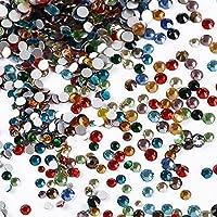 3456pcs Diamantes Imitación Cristal Artificial Espalda Plano Gemas de Vidrio Multicolores Redondas para Arte Uñas Artesanía Ojo Cara Ropa Zapatos Manualidades (1.6 mm-3 mm, 6 Tamaños)