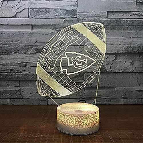 Kansas City Chiefs Rugby 3D Lava Lampe Creative 7 Farbwechsel LED Nachtlicht Geschenke Schlafzimmer Tischlampe 7color + Fernsteuerung @ 7color + Fernsteuerung