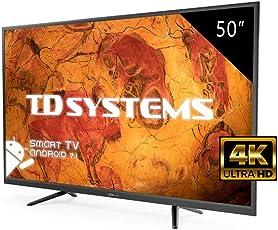 Fernseher LED 50 Zoll Ultra HD 4K TD Systems K50DLY8US. Auflösung 3840 x 2160, 3X HDMI, VGA, 2X USB, Smart TV.