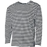strongAnt Herren Gestreiftes Langarmshirt. Matrosen Shirt Gestreift Sommershirt. Telnjaschka Russische Marine 100% BW - Dunkelblau 48