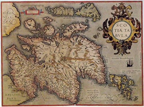 Antik Karte-Schottland 1573-Prints/Bilder-auf eine Leinen Struktur Medium, Image Plus Small Border, 16 x 12inch -