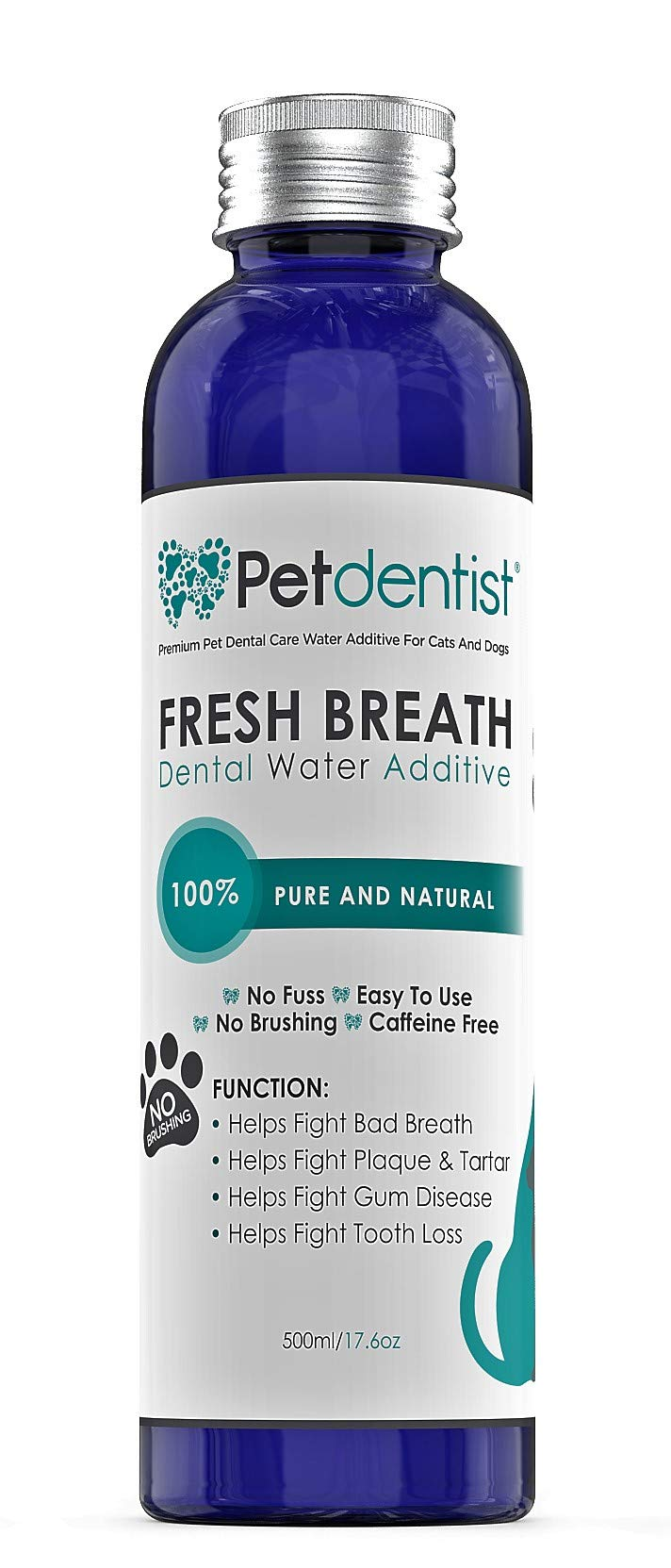 Petdentist Dog Dental Care Fresh Breath Water Additive Plaque Tartar Remover for Dogs Easy Teeth Cleaning Oral Hygiene Freshener Product for Gums Gingivitis Periodontitis and Bad Cat Dog Breath-500ml