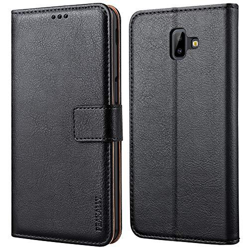 Peakally Samsung Galaxy J6+ Hülle, Premium Leder Tasche Flip Wallet Case [Standfunktion] [Kartenfächern] PU-Leder Schutzhülle Brieftasche Handyhülle für Samsung Galaxy J6+-Schwarz