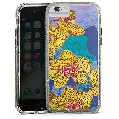 Apple iPhone 6 Plus Bumper Hülle Bumper Case Glitzer Hülle Orchidee Flowers Blumen Bumper Case Glitzer gold