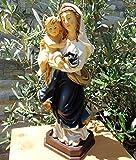 ÖLBAUM - HANDBEMALTE Heilige Maria Mutter Gottes mit Kind, Madonna BLAU / WEISS, Mutter Gottes mit lustigem, aufgeweckten Jesus-Kind, mit leuchtend blauem Mantel, als uraltes Symbol des christlichen Glaubens - alle ÖLBAUM HEILIGEN- und Krippenfiguren zeichnen sich durch extrem sauber gearbeitete und präzise Gesichtszüge der Figuren aus, coloriertes Holzfiguren- bzw. Echtholzimitat, schlanke Form, standfest, liebevoll handbemalt