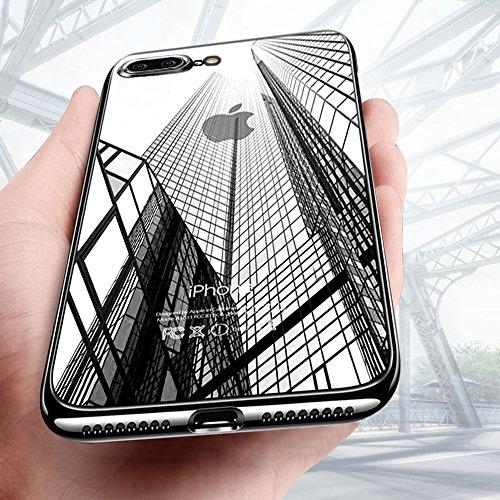 Galleria fotografica Custodia iPhone 8 plus, Custodia iPhone 7 plus,KKtick iPhone 8 plus Caso Silicone TPU Flessibile Cover Case Ultra Sottile per iPhone 8 plus Case (Nero)