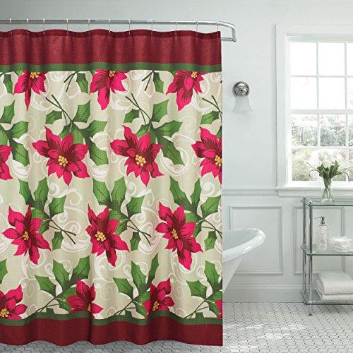 Creative Home Ideas Poinsettia strutturato per tenda da doccia, rosso/bianco/verde/