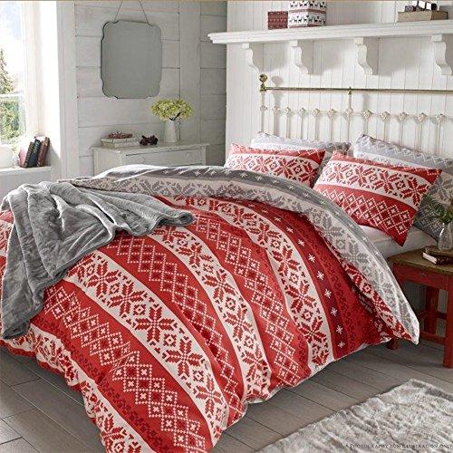 Dreamscene, set copri piumino con federe, motivo nordico, rosso, per letto matrimoniale