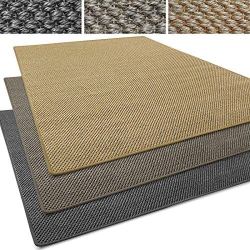 Sisal Läufer / Teppich Tiger-Eye | Sisalteppich in verschiedenen Farben | Naturfaser | Rutschfest | viele Größen zur Auswahl (Anthrazit, Teppich / Läufer 80x300cm (BxL))