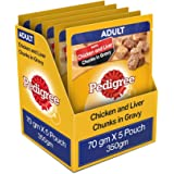 Pedigree Adult Wet Dog Food, Chicken & Liver Chunks in Gravy, 5 Pouches, 70 g, Count of 5