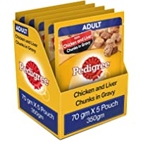 Pedigree Adult Wet Dog Food, Chicken & Liver Chunks in Gravy, 5 Pouches, 70 g (Pack of 5)