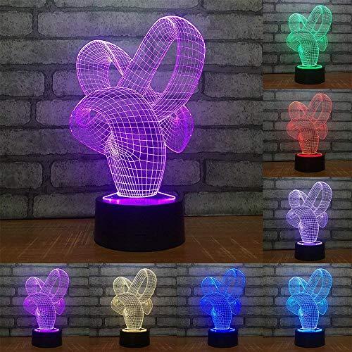3D Illusion Lampe Abstrakte Kunst LED Nachtlicht, USB-Stromversorgung 7 Farben Blinken Berührungsschalter Schlafzimmer Schreibtischlampe für Kinder Weihnachts geschenk - C6 Mit Blauem Led-licht