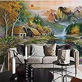 Xbwy Benutzerdefinierte L Vliestapete Berg Kleines Chalet Natur Landschaft Ölgemälde Leinwand Schlafzimmer Wohnzimmer Wanddekor-200X140Cm
