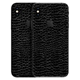 #7: GADGETS WRAP Apple iPhone X Exclusive Black Textured Leather Skin D10A5