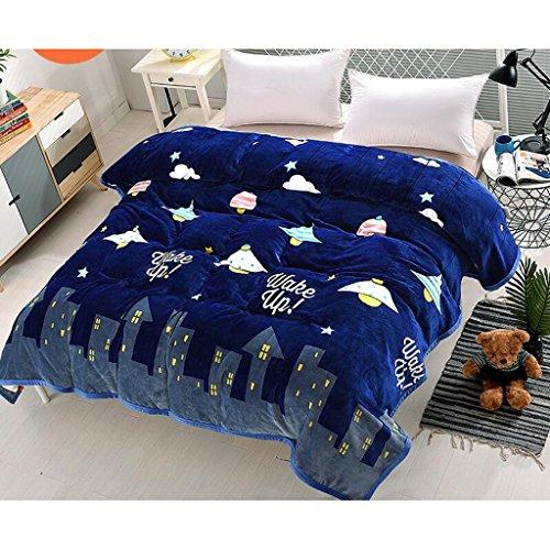 Xuan - worth having Dunkelblaue Nacht Muster Bett Decke Quilt Flanell Verdickung Warm Student Schlafsaal Winter Blätter ( größe : 150*200cm )