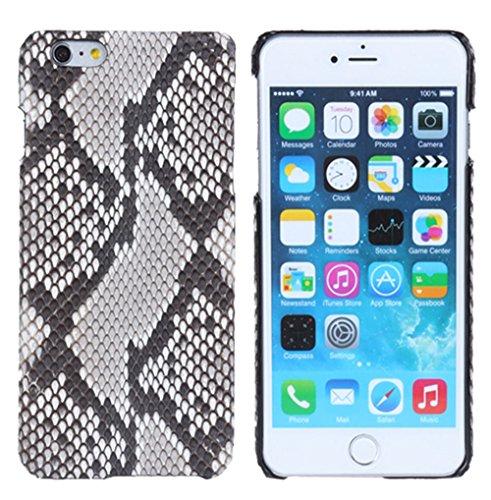 Minifamily® Weiß Echtes Python Schlange Zurück Haut Leder Telefon Schutz Muschel Etui Schale für Apple iPhone 6/6s / 6 Plus 5,5 Zoll / iPhone 7/7 Plus (iPhone 6s 4,7 Zoll) -