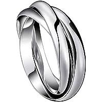 Oidea 3 Anelli intrecciati acciaio inossidabile Fidanzamento moda Uomo Donna argento(Regalo una collana catena puo…