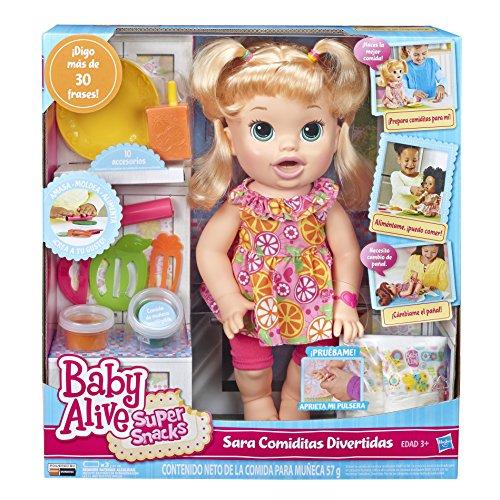 Baby Alive, Bambola Sara Blonde Super Snacks Snackin'