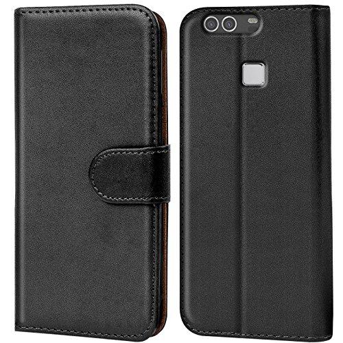 Verco P9 Plus Hülle, Handyhülle für Huawei P9 Plus Tasche PU Leder Flip Case Brieftasche - Schwarz