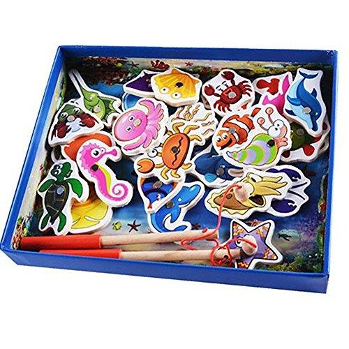 Centtechi Kind Angeln Spiel Holz Magnetische Spielzeug mit 32 Ozean Tiere und 2 Stangen Bildungs Angeln Spiele für Kinder Geschenke (3-9 Jahre Alt)