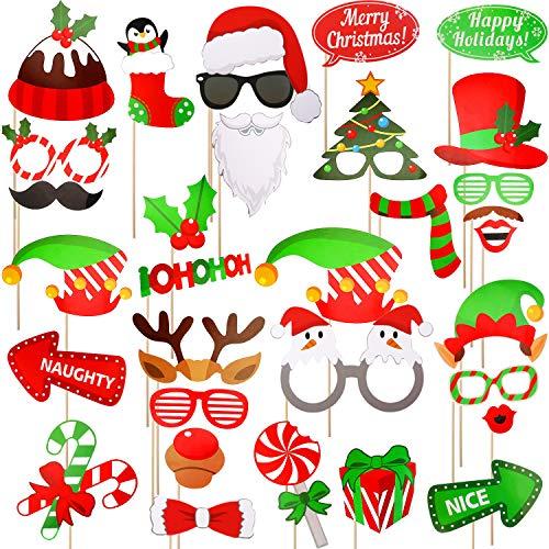 MSDADA Weihnachts-Foto-Requisiten, 32-teilig, DIY Foto-Requisite, Pose Sign Kits für Weihnachten, Neujahr, Urlaub, Party-Zubehör