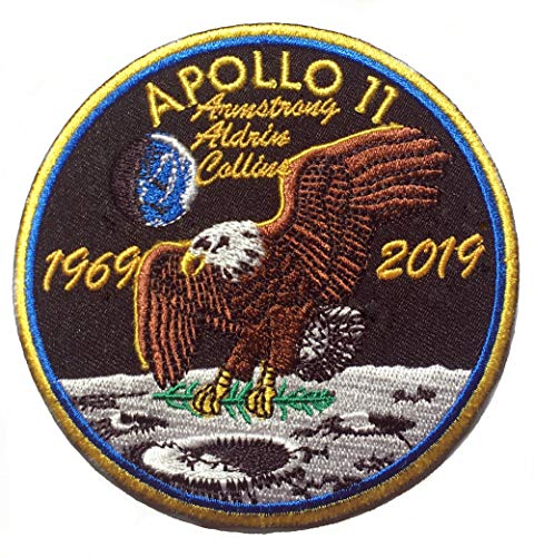 NASA Apollo 11 50th Anniversary Aufnäher (90 mm) Iron/Sew on Patch (1969-2019) Commemorative Badge Space Moon Landing Emblem
