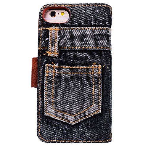 Yokata Coque iPhone 6S Plus, iPhone 6 Plus (5.5 pouces) Motif Jeans Créatif Folio en Cuir PU Fente Carte Leather Wallet Case de Carte Slots Flip Cover Fermeture Magneique Fonction Support Antichoc Int Noir
