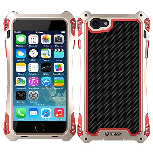 iphone 7 7S Plus Hülle, iPhone 7 7S Plus Metal Case, Feitenn Armor Aluminium Metall Schutzhülle Military Heavy Duty Cover Hard Fall Back Cover Outdoor Bumper Case für Apple iphone 7 7S 7+ (Camo) Gold+Rot