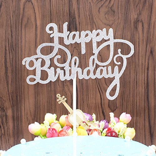 Happy Birthday Kuchen Topper Gold Glitzer Kuchen, Einsatz Karten, Geburtstag Decor Kuchen Dekoration Zubehör One Size silber