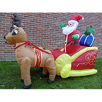 Large Inflatable Father Christmas Santa And Reindeer Sleigh Decoration 6ft  180cm With 12 LED Lights Indoor