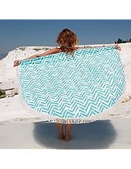 QHGstore Redonda Mandala de la borla Fleco Esterilla para la playa de la toalla de tela de algodón Yoga Tabla # 3 150cm