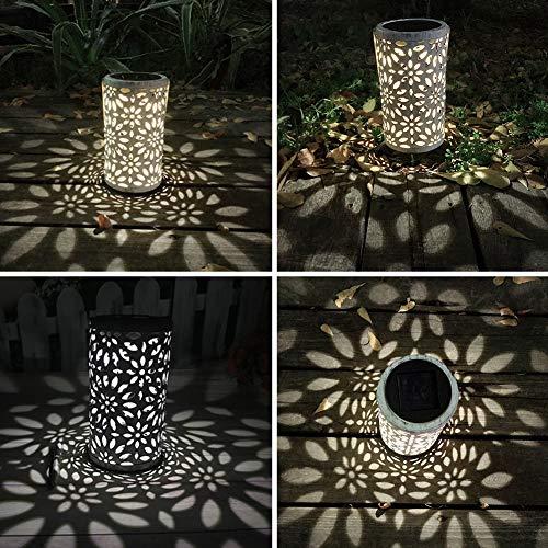 CVERY 1 stück Vintage Solar Hängeleuchte, Hohleisen Kunst LED Garten Laterne mit Bodenstecker In den Boden, Im Freien wasserdichte Lampe für Rasen Terrasse Hof Dekoration(wie Gezeigt) -