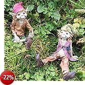 Pixies seduti magico da giardino di alta qualità Decor Figurines elfo fate e bambini, Set di 2, altezza: 12cm