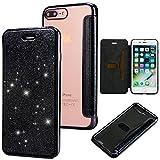 Slynmax Coque iPhone 8 Plus Noir iPhone 7 Plus Case PU Cuir Paillette Strass...