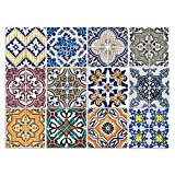 Cuadros Lifestyle Dekorative Stickerfliesen mit Tollen Motiven und Ornamenten für Wände und Fliesen | 12 Teiliges Set | seidenmatt, Größe:15x15 cm