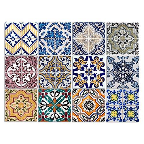 Cuadros Lifestyle Dekorative Stickerfliesen mit Tollen Motiven und Ornamenten für Wände und Fliesen | 12 Teiliges Set | seidenmatt | 15x15cm