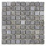 DIVERO 1 Matte 30 x 30cm Marmor Naturstein-Mosaik Fliesen für Wand Boden quadratisch grau 9 x 9 Steine