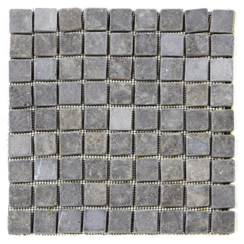 Getrommelt Marmor Mosaik 1x1 (DIVERO 1 Matte 30 x 30cm Marmor Naturstein-Mosaik Fliesen für Wand Boden quadratisch grau 9 x 9 Steine)