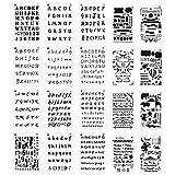 Paquete de 20 plantillas de letras y números de Meetory para cuadernos tamaño A5