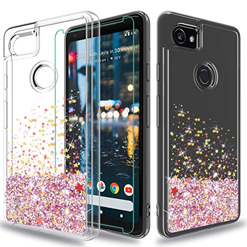 Wtiaw Google Pixel XL 2 Case with HD Screen Protector, [Quicksand Glitter Series] Liquid Transparent TPU Gel Elastic Silicone Shockproof Protective Phone Cover Cases for Google Pixel XL 2-SA Pink - Silicon Protector Case