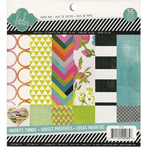 American Crafts Heidi Swapp 10268595Schablone zum Papier Pad 6x 63Favorite Things, je 2Stück 18Designs Origami-papier, 2-seitig