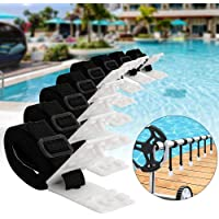 Solar Reel Plate Buckle, 8pcs Retaining Straps, Pool Cover Clip Swimming Pool Cover Roller Attachment Straps Gear Belt Kit for Ground Pool