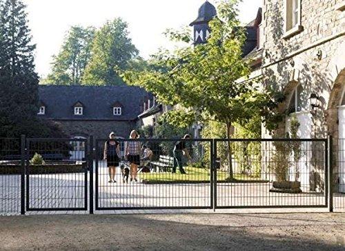 Einfahrtstor Toranlage 3-flügelig Grau Tor Hoftor Doppel Gartentor 400cm x 143cm
