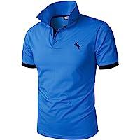 HOOD CREW Men's Classic Polo Shirt Short Sleeve Slim Fit Shirts Lightweight Casual Tops