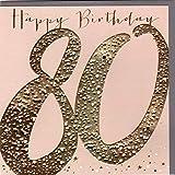 Belly Button Designs hochwertige Glückwunschkarte zum runden 80. Geburtstag aus der Paloma-Serie mit Prägung, Folie und Kristallen BB474