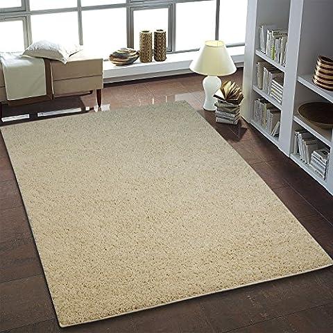 Shaggy Teppich Hochflor Langflor Teppiche fürs Wohnzimmer und Schlafzimmer geeignet sowie für die Küche und Kinderzimmer Ökotex 100 zertifiziert (150x150 cm quadratisch, creme)